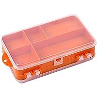 Lixada 14 * 8.3 * 4,1 cm Doble Cara Transparente Plástico Visible Pesca Señuelos Gancho Tackle Caja de 9 Compartimientos