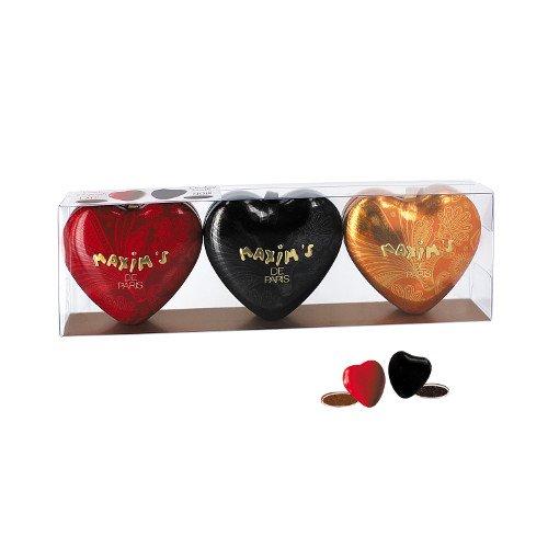 Geschenkset 3 Mini-Herzdosen, mit dragierten Schoko-Herzen aus Milch-Schokolade oder Bitter-Schokolade mit Füllung