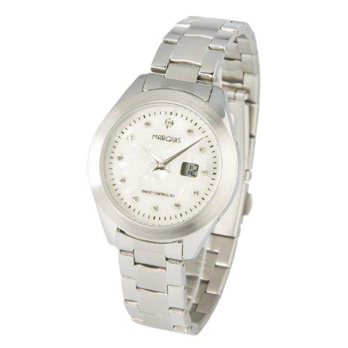 MARQUIS Damen Funkuhr, Gehäuse und Armband aus Edelstahl, Perlmutt Zifferblatt mit Kristallsteinchen, Armbanduhr, Junghans-Uhrwerk 964.4100