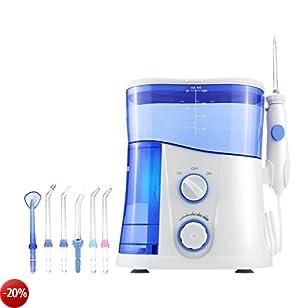 LifeBasis Idropulsore Professionale Irrigatore per Igiene Dentale Funzione Filo Interdentale con 7 Punte Multifunzione, Sterilizzatore UV e Serbatoio ad Alto Volume da 1000ml