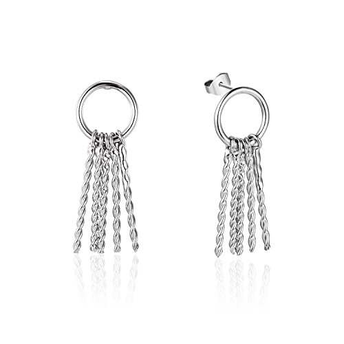 De Aretes Oro (Silberfarbenes 925Sterling Silber Schlüssel Muster Ohrringe Schmuck)