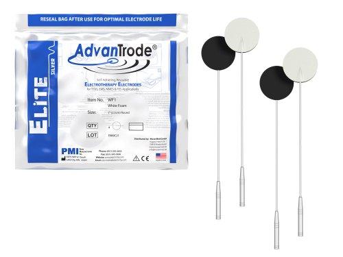 AdvanTrode TENS + EMS Premium Silber-Elektroden rund 2,5 cm mit 2mm-Anschluss - klein genug für den Einsatz im Gesicht, an Knie und Achillessehne