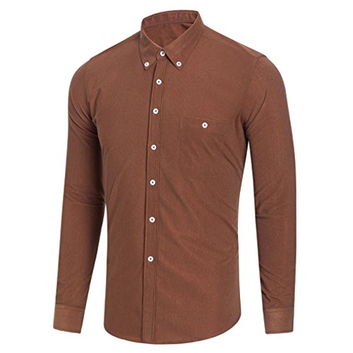 Corduroy Button Hemd (GreatestPAK Tops Plus Size Herren Bluse Langarm Shirt Solid Button Tops,Khaki,XXL)