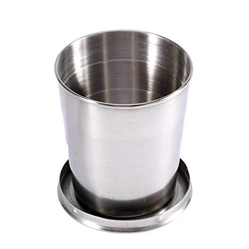 Haofy 240ML / 140ML / 75ML3 Größe Optional Alle Edelstahl Teleskop Cup Folding Cup, Schlüsselanhänger Weinglas Folding Cup(L) Folding Cup