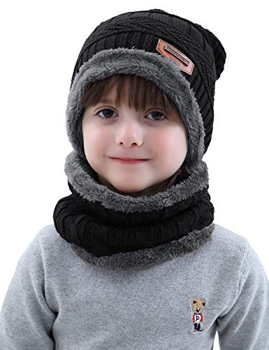 Aibrou Cappello Ragazzo Inverno 3-12 Anni Berretto Sciarpa Invernale Bambino 2 in 1 Beanie Bambino Cappello a Maglia con Sciarpa Unisex per Sci Campeggio Sport All'aria Aperta Natale Regalo