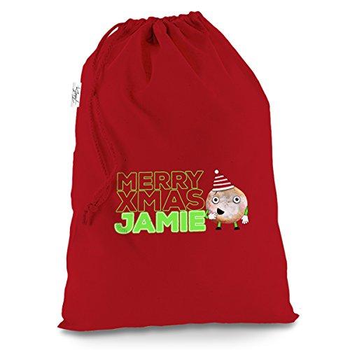 Personalisierte Cartoon Weihnachten Mince Pie X-Large Rot Weihnachten Santa Sack Geschenk Tüte Pudding Swag