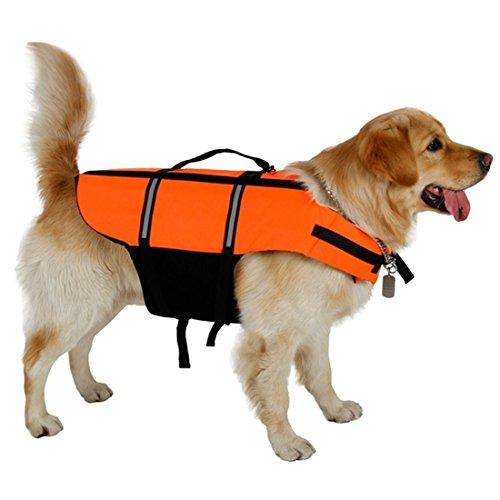 VICTORIE Hunde Rettungsweste Schwimmweste Schwimmhilfe Reflektoren Einstellbar (XL, Orange)