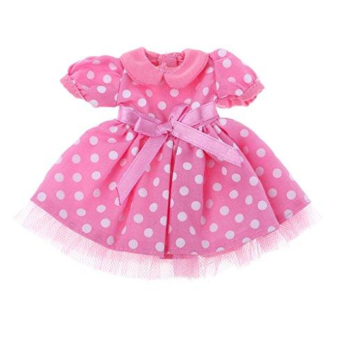 Homyl Handmade Puppe Tutu Kleid Prinzessin Ballkleid mit Bowknot Party Kleidung Für 1/6 Blythe, Azone, Licca - Pfirsich (Dot Polka Mini Rock)