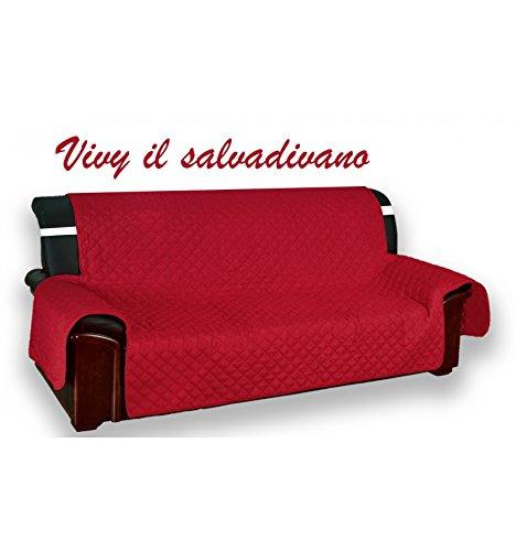 Copridivano salvadivano vivy trapuntato piano liscio rosso-bordeaux - 4 posti seduta cm. 230