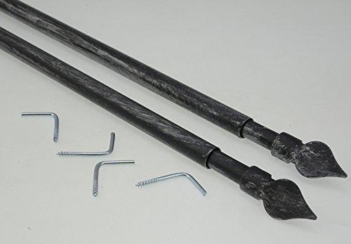 2 astine in ferro battuto estensibili per tendine a vetro (nero argento)