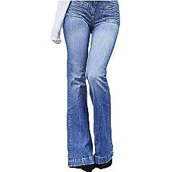 Mujeres De Cintura Alta Jeans Largos Denim Acampanados Pantalones De Campana S