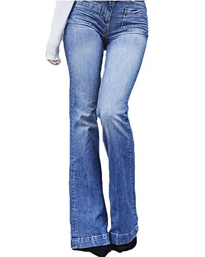 Mujeres De Cintura Alta Jeans Largos Denim Acampanados Pantalones De Campana L