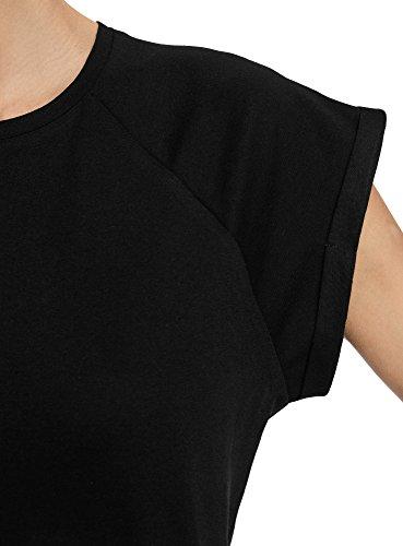 oodji Ultra Damen Lässiges T-Shirt Basic mit Unbearbeitetem Saum Schwarz (2900N)