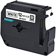 Black on White Label Tape Compatible for Brother PT-65/PT-70/PT80 Label Printer 12mm * 8m