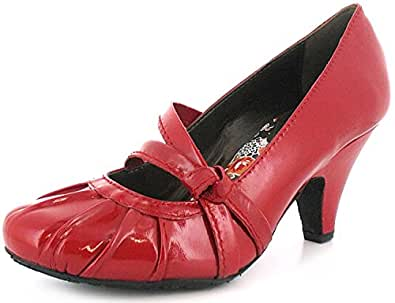 New Womens/Ladies Red Patent Leather Hush Puppies Slip On Court Shoes - Red Patent - UK SIZE 11