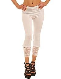 Fashion4Young Damen Sexy Capri-Leggins Leggings 3/4 Hose mit Strass oder Schleife Gr. 34 36 38