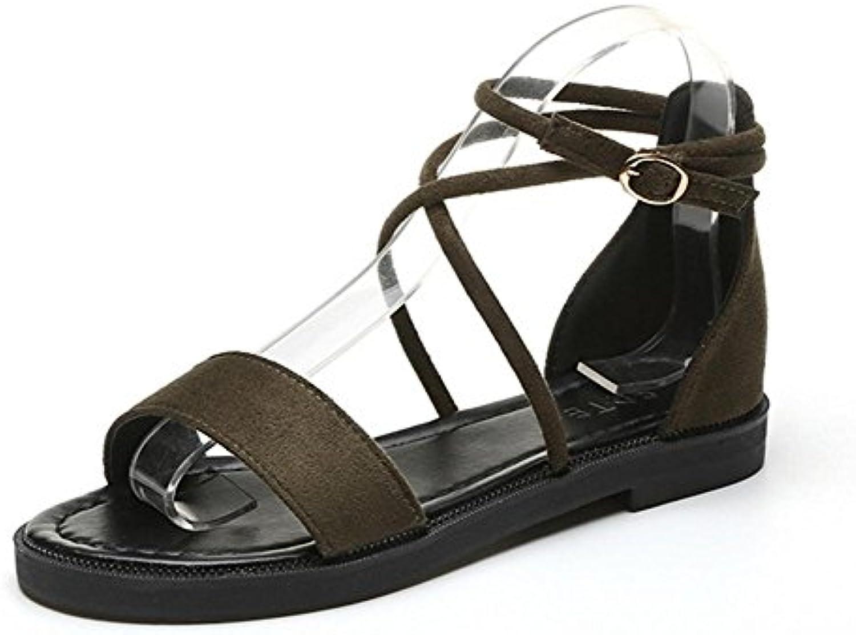 Scarpe aperte estate estate estate sandali piani calza i pattini degli studenti fibbia , verde , US6.5-7   EU37   UK4.5-5  ... | Alta Qualità  | Uomo/Donna Scarpa  727465