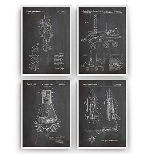 ers - Satz Von 4 - Size A5 14.8 x 21 cm - NASA Outer Space Science Wissenschaft Gift Astronaut Blueprint Spaceship Raumschiff Aerospace Raumfahrttechnik - Frame Not Included ()