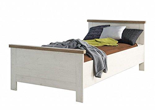 Forte Möbel Einzelbett Duro 100 x 200 cm Bett im Dekor Pinie Weiß Antik
