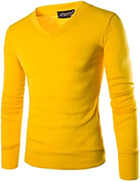 Jersey de Cuello V Manga Larga Suéter de Punto Pullover para Hombre