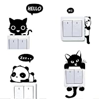 Westeng 4Pcs Cartoon Animal Light Switch Sticker Funny Wall Sticker Decorative Decal Cute Panda Cat Pattern