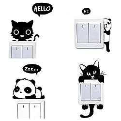 Dosige 4 PCS conjunto Gato y Panda Interruptor de Luz Cambiar Coche Pegatinas de Ventana Pared Creativo Pet Extraíble Pegatinas Vinilo Decal Murales Para Cocina Sala de estar Dormitorio Restaurante Baño
