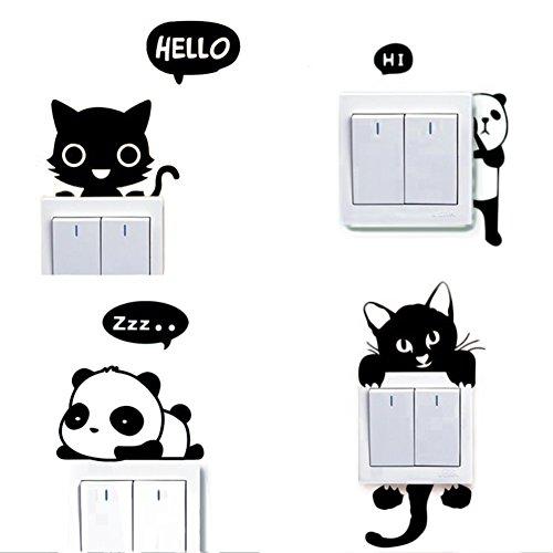 Dosige 4 PCS Conjunto Gato y Panda Interruptor de Luz Cambiar Coche...