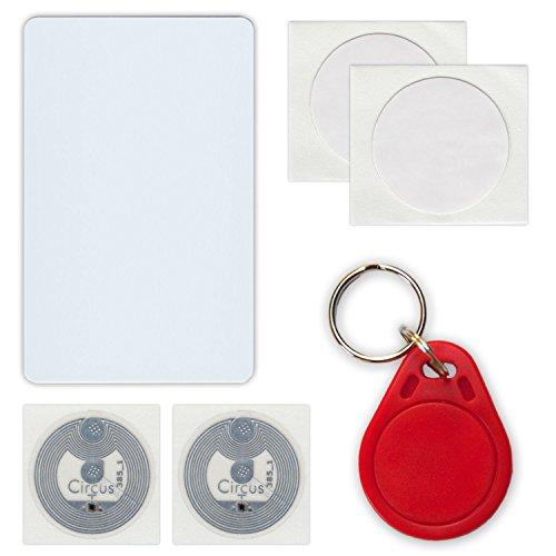NFC Tag Starterkit: 6 NFC Tags (4 Aufkleber, 1 Schlüsselanhänger, 1 Scheckkarte)