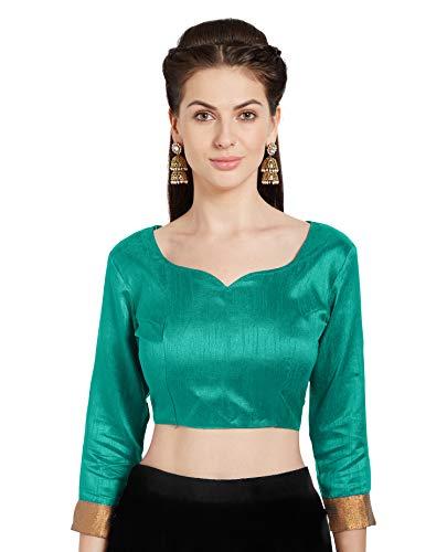 Teal Saree (Mirchi Fashion Damen Teal Art Seide Readymade Party Saree Bluse Stilvolle Choli Top)
