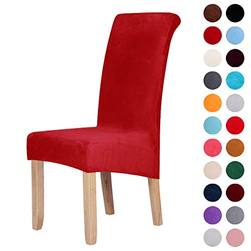 Homaxy Velvet Stretch Esszimmerstuhl Hussen - Spandex Plüsch Stuhlhussen Solide Großes Esszimmer Stuhl Protector Home Decor Set 4, Rot - 4 Parson Stühle