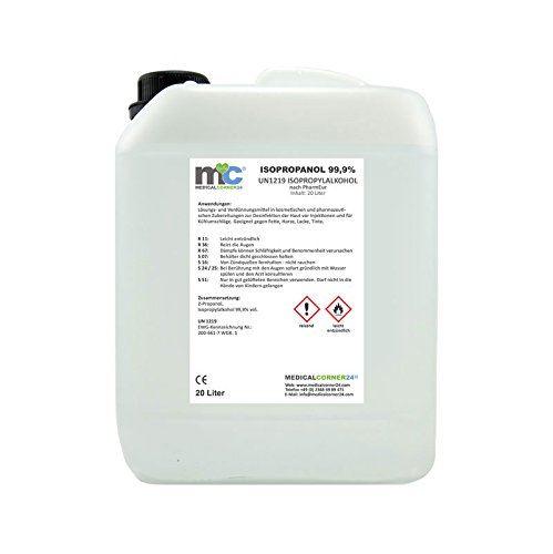 Medicalcorner24® Isopropanol 99,9{c8f5d3e05b9d0dd7ed2f39af2b6e7b0c9fb831a9ea54db0804c928fae7b97517} Isopropylalkohol 20 Liter Kanister, Alkohol