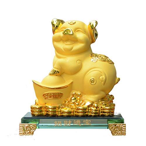 (BWINKA 2019 Golden FengShui Schwein mit Glücksmünzen Feng Shui Dekoration für Glück und Reichtum Perfekt für Ihr Zuhause oder Büro)