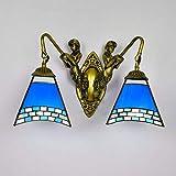 LL Wall Lamp Blue Glass for Bedroom Bedside Lamps Bar Restaurant Inn Corridor Lighting,twoheads,26x40cm