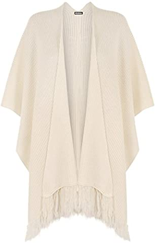 WearAll Women's Knitted Tassle Baggy Short Cardigan Cape Jacket Top