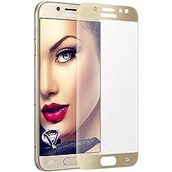 mtb more energy® 3D Protecteur d'écran en verre trempé incurvé pour Samsung Galaxy J7 2017 (SM-J730, 5.5'') - doré - 9H - 2.5D - Couverture complète - Film Vitre Protection