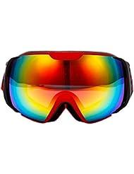 NORTH WOLF Gafas de Esquí Skibrille Airbrake Gafas Ciclismo Antiniebla Rosada Doble Lente (Rojo)