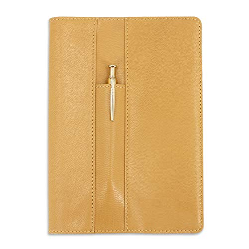 Ricaricabile, pelle di capra notebook A5Traveler' s Journal Diary notebook anteriore a tasca Light Brown