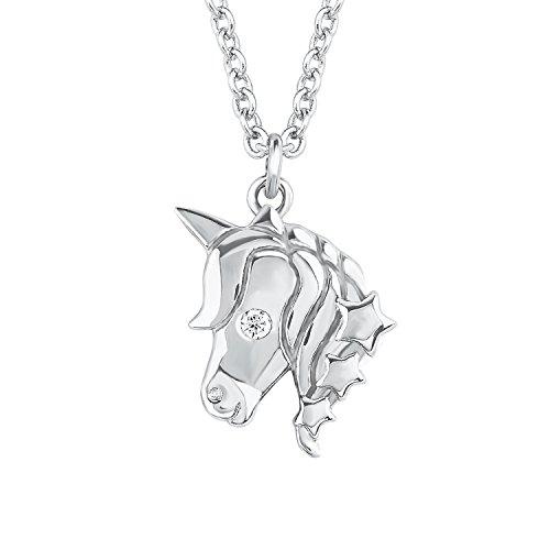 S.Oliver Kinder Kette mit Anhänger Einhorn Sterne 925 Sterling Silber rhodiniert Zirkonia 37+3 cm weiß