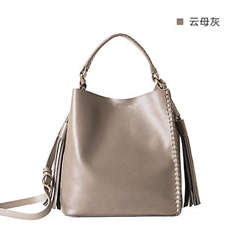 Sac à main en cuir tressé sac épaule Sac fourre-tout sacs à main simple,poudre cristalline MICA ash
