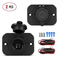 Nilight 2 pack Car Cigarette Lighter Socket DC 12V Waterproof Power Outlet Adapter Replacement with Terminals Wires and Screws for Marine Boat Motorcycle, Boat, Car,Truck, RV, ATV,2 Years Warranty