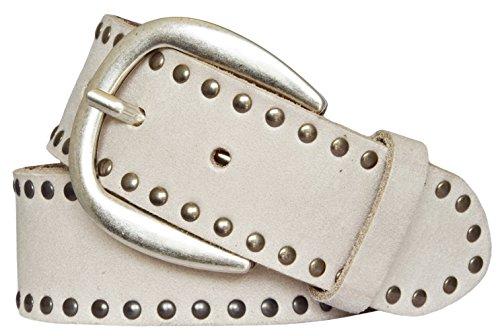 Vanzetti Damen Leder Nieten Gürtel Belt Ledergürtel Damengürtel vanille 40 mm (105 cm)