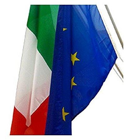 Set 2 bandiere italia-europa misura 100x150 in poliestere nautico - alproduction