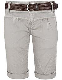 Fresh Made Shorts chinos tipo bermudas de mujer | Elegante pantalón corto con un cinturón trenzado