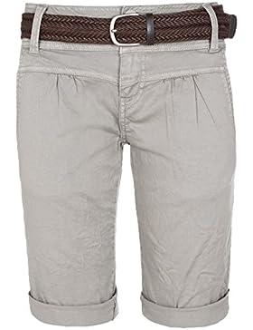 76f6b4f8aa5e69 Fresh Made Bermuda estivi da donna | Pantaloni chino corti con cintura  intrecciata | Pantaloncini basic