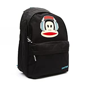 Paul Frank Backpack Cheeky Monkey with Headphones (Black with Light Blue Contrast Straps and Zip Ties)