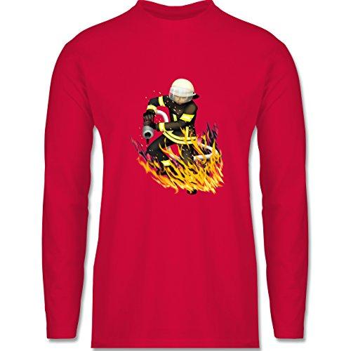 Shirtracer Feuerwehr - Cooler Feuerwehrmann - Herren Langarmshirt Rot