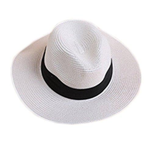 Design-fedora-hut (Hosaire Mütze Baseball Mode Britischen Stil Sommerhut Eave Strohhut Jazz Cap für Damen Mädchen,Weiss)