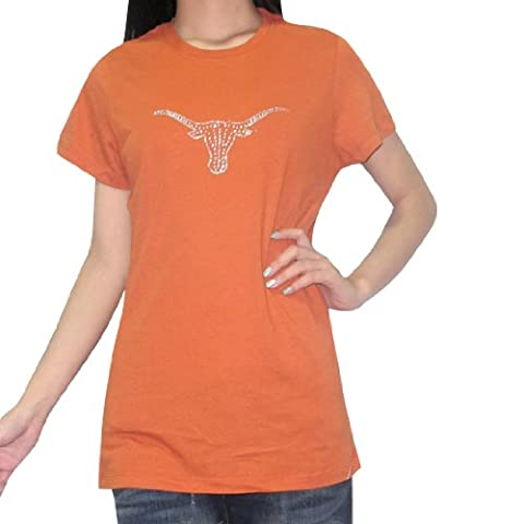 NCAA Texas Longhorns Damen Rundhals-T-Shirt mit Strass 2XL Braun