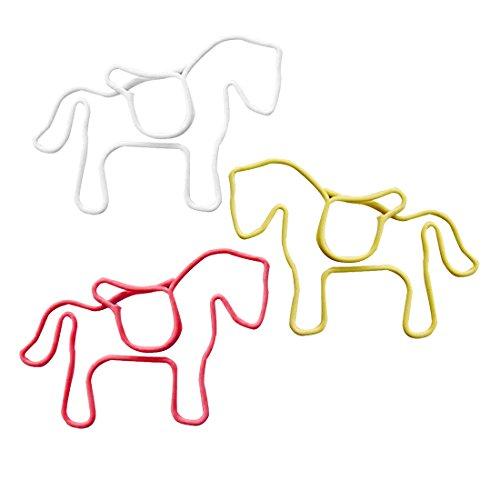 Bueroklammern - SODIAL(R)Bueroklammern aus Metall 24 Stueck in PVC-Etui Pferd