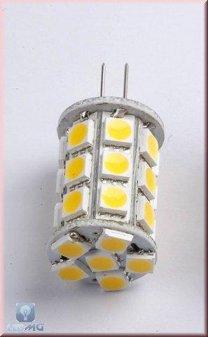 GY6,35 27 x 3-Chip LED SMD Stiftsockel Zylinder warm weiß 12V DC / AC 320 Lumen, 3,1W -